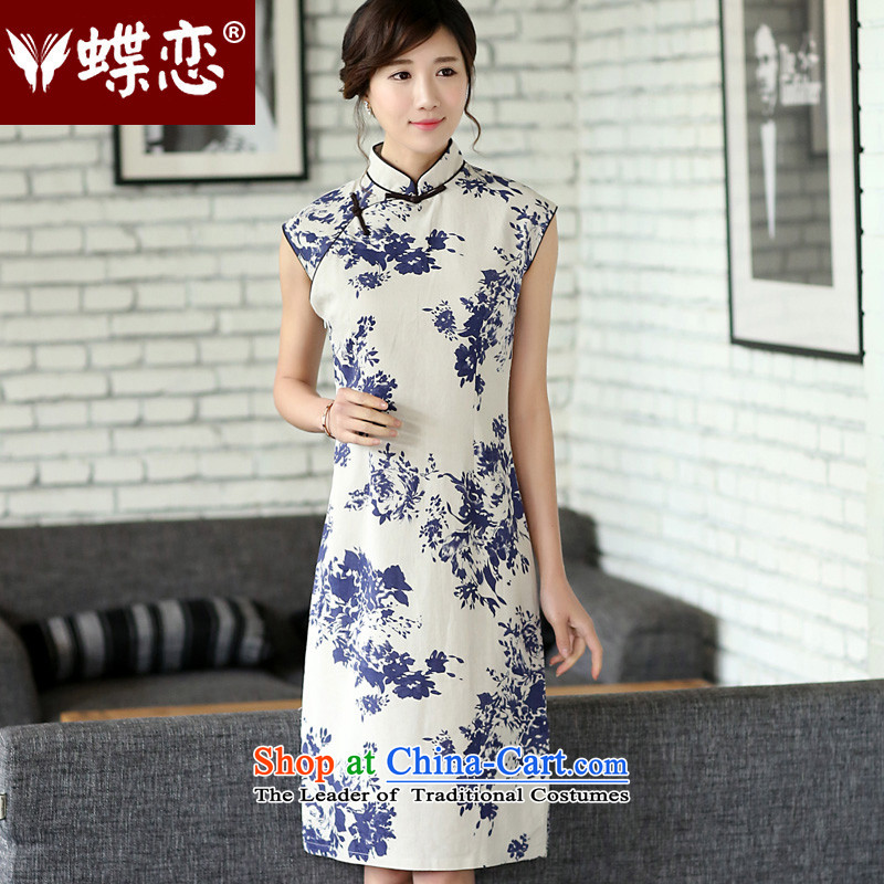 The Butterfly Lovers 2015 Summer new women's improved cotton linen cheongsam dress porcelain daily qipao 4500 5 celadon dream燣