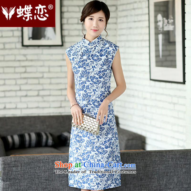 The Butterfly Lovers 2015 Summer new women's national retro improved cheongsam dress daily fashion cheongsam 45007 Sau San small orchid?XXL