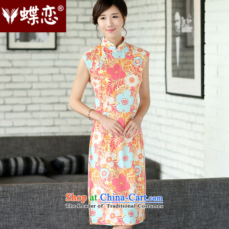 The Butterfly Lovers 2015 Summer new women's national improved stylish cheongsam dress qipao 45011 Ms. daily EUROBLECH燲XL