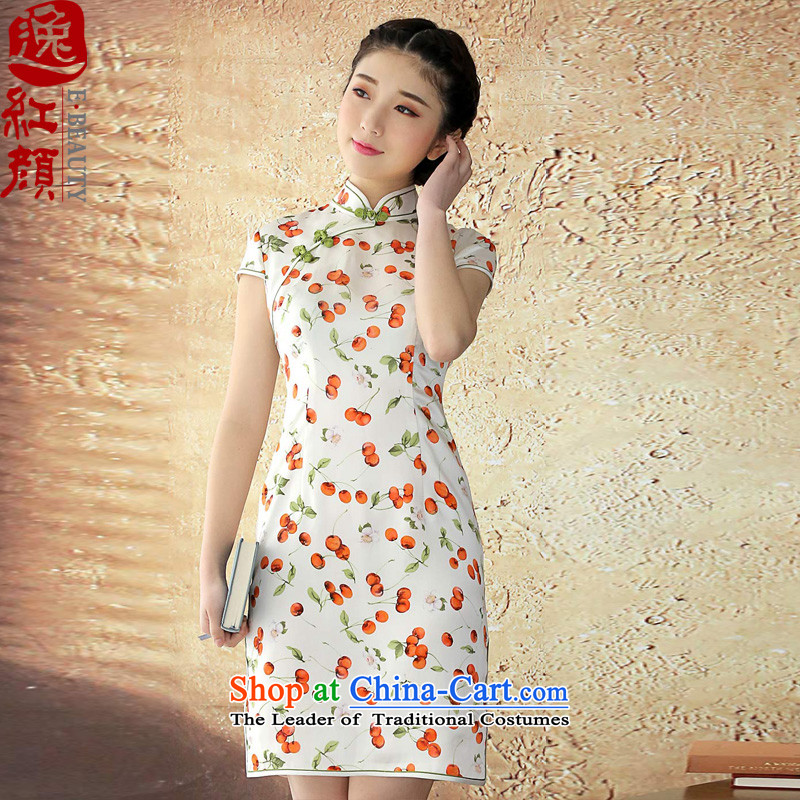? Yat lady- Zhu Ying cheongsam silk dresses herbs extract a solid color for summer short-sleeved blouses improved cheongsam dress White燲L