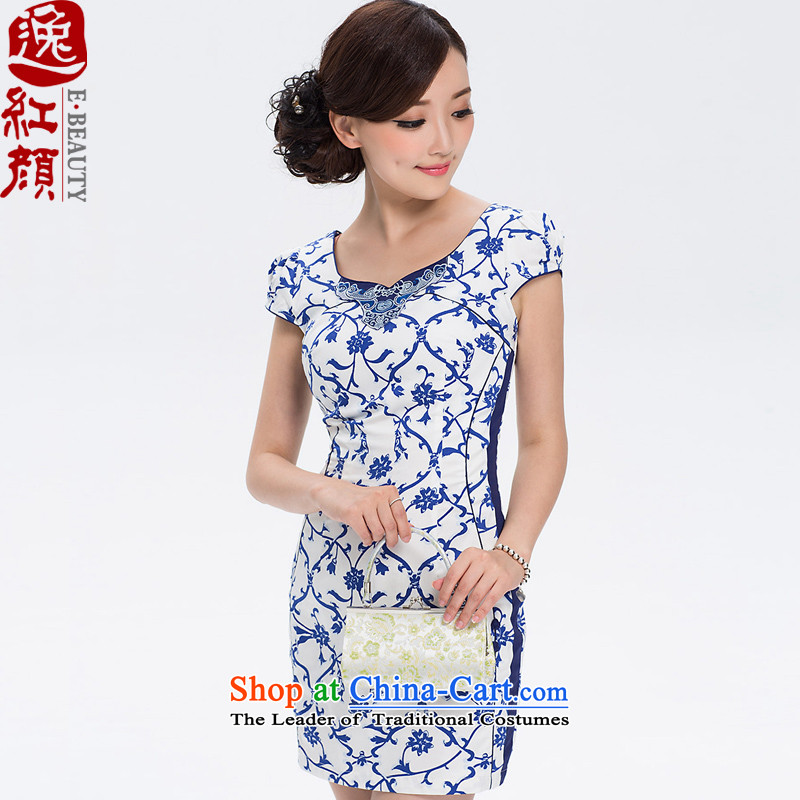 ? Yat lady health�15 new tattoo summer China wind dresses cheongsam dress summer women of ethnic dresses blue燬