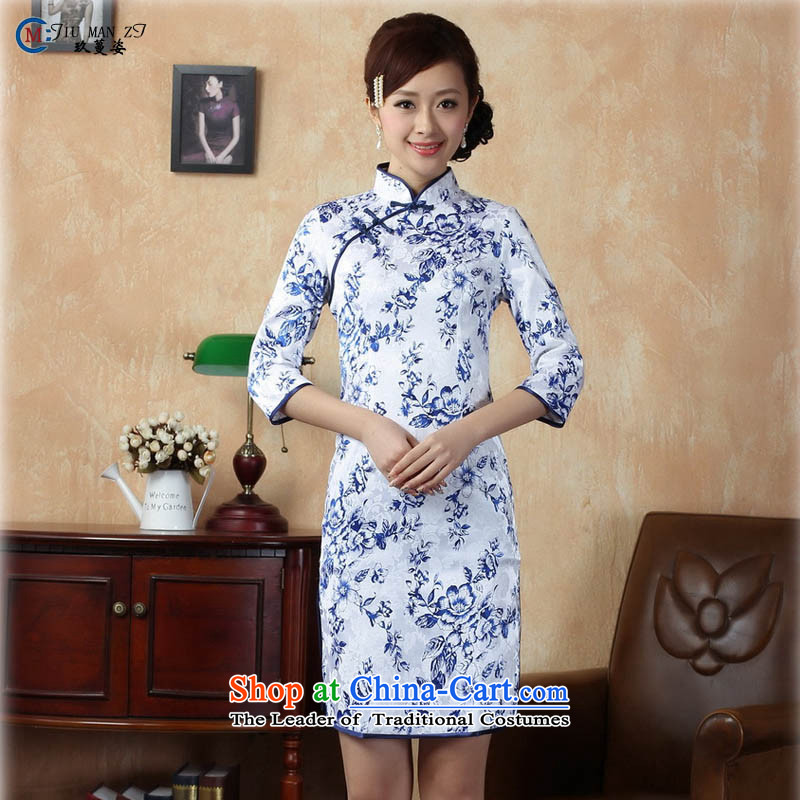 Ko Yo Overgrown Tomb new summer 2015 Gigi Lai Stylish retro improved cheongsam dress new jacquard ramp up in the collar cuff retro stamp qipao E0020 porcelain 160_M