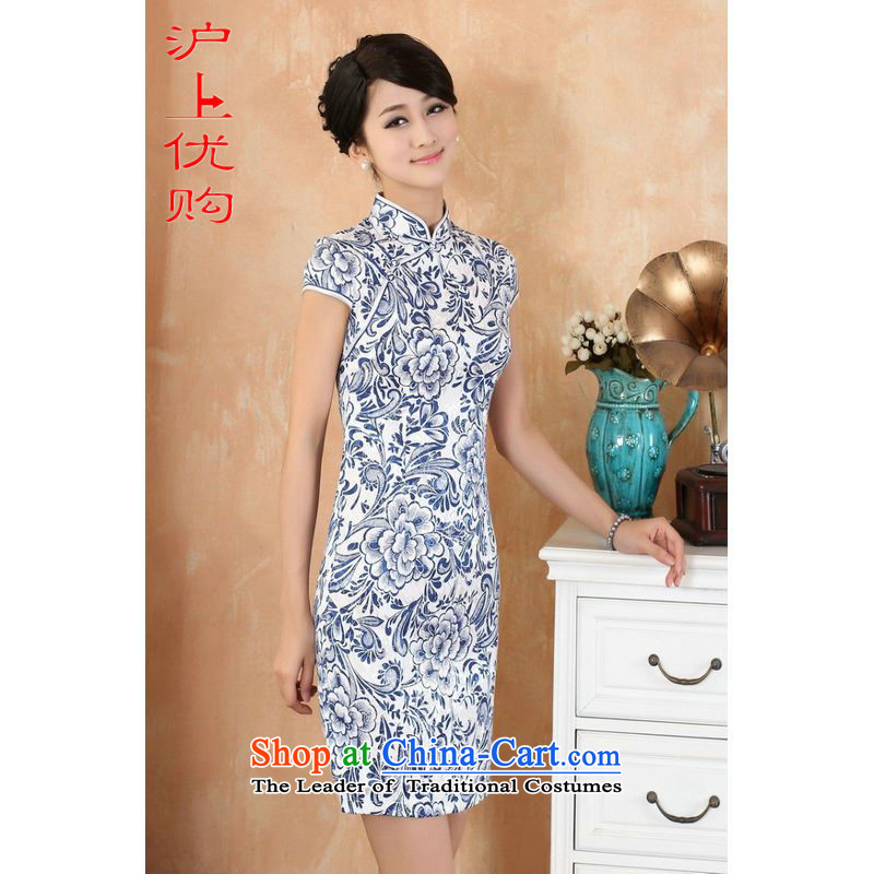 Shanghai, optimization options qipao summer improved retro Dresses Need collar badges of pure cotton Chinese cheongsam dress stamp improvement of white?2XL recommendations short 120-130 catty