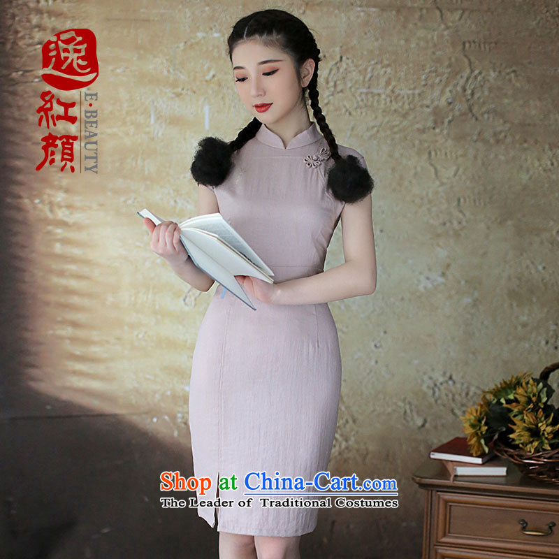 ? Yat lady health continued goodwill Write qipao female retro pixel color collar China wind female spring and summer 2015, ethnic Gray�L