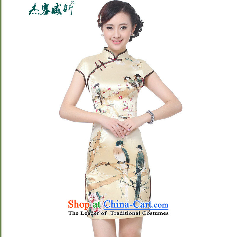 In the new kit, Retro improved collar short-sleeved qipao detained manually dresses qipao Tang dynasty CHINESE CHEONGSAM?TD0197#?GOLD?XL