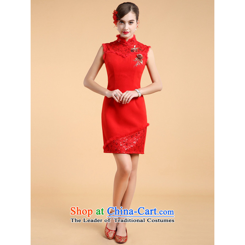 158 Color 2013, guoisya minimalist style qipao two kits shawl long-sleeved winter cashmere Wedding Dress Short Red燲L