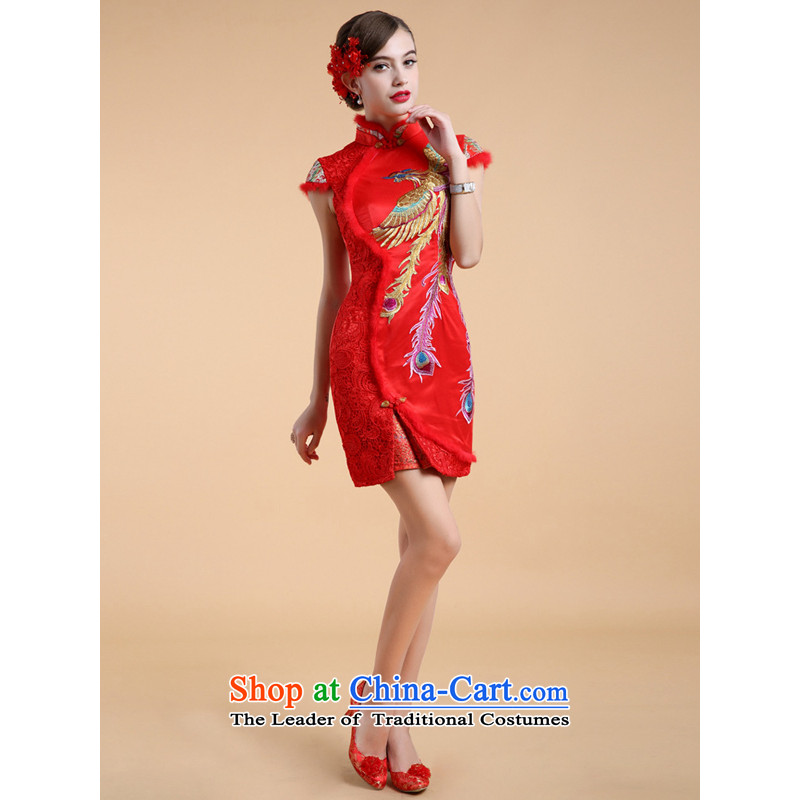 158 color duvet qipao short of winter lace wedding dresses services temperament red bows S