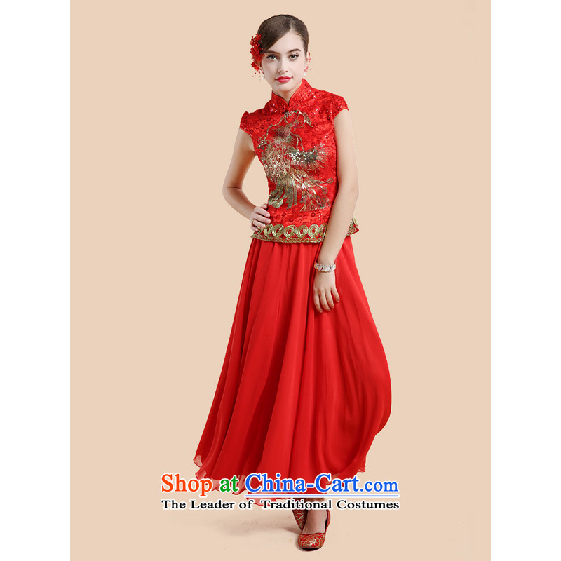 158 multimedia wedding retro guoisya qipao winter embroidery lace marriage bows dress large red red燲L