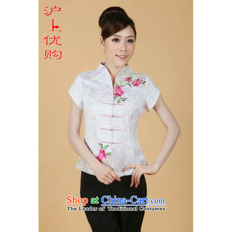 Shanghai, optimize ipo female Tang Women's clothes summer shirt collar embroidered Chinese Han-women improved White M
