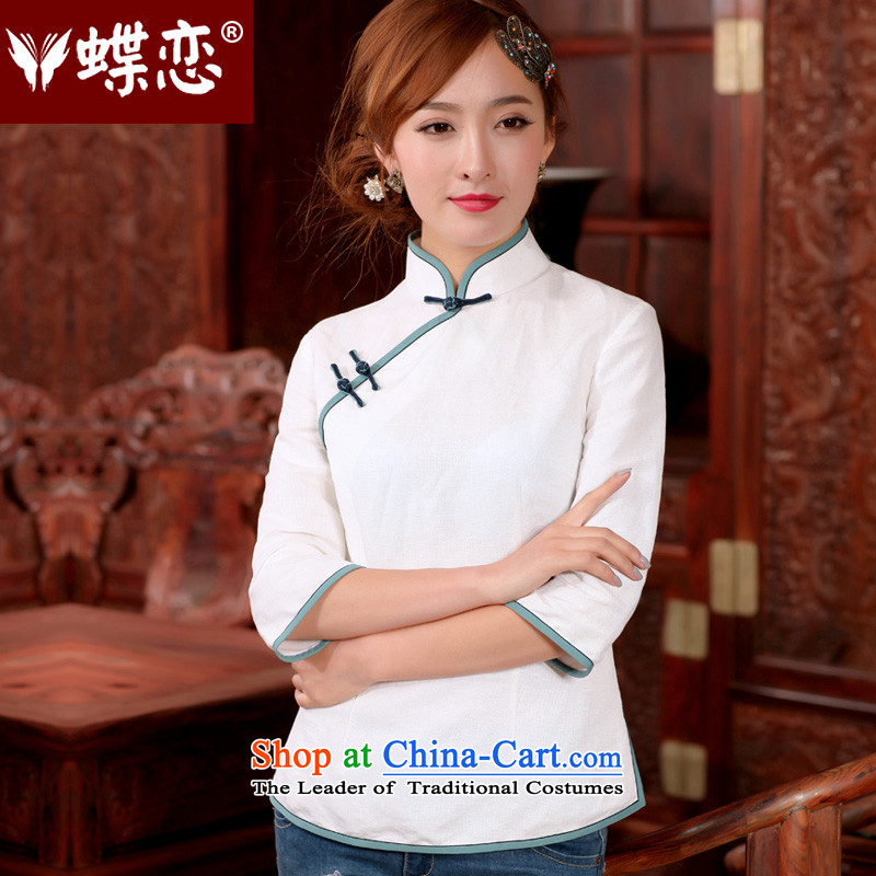 The Butterfly Lovers autumn 2015 new for women improved qipao shirt cotton linen china wind Ms. Tang blouses 45056 m White燲XXL