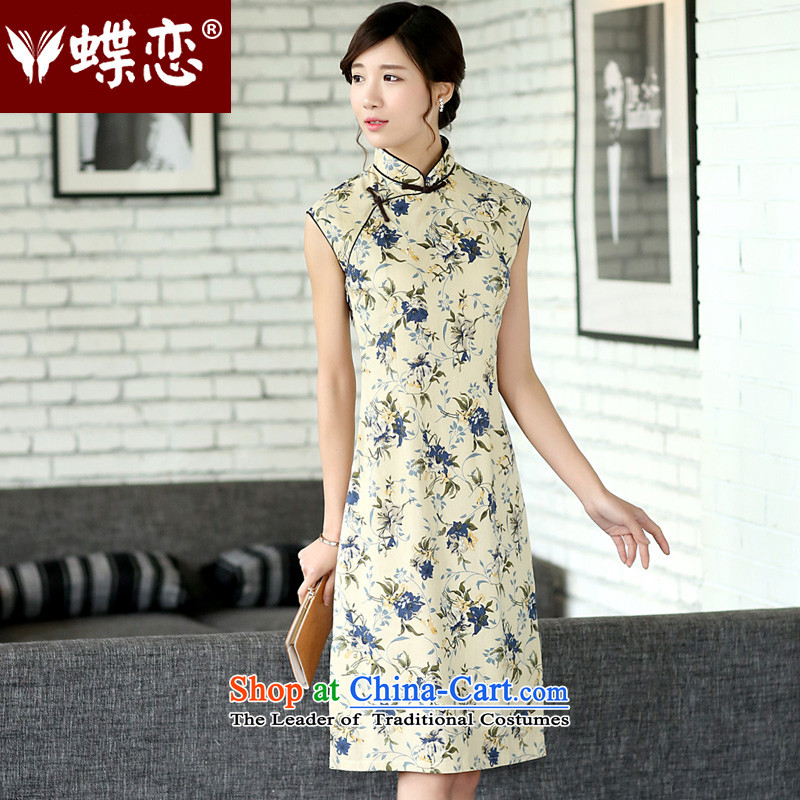 The Butterfly Lovers 2015 Summer new ethnic improved manually on each side of the tray clip of the forklift truck sleeveless linen yarn-dyed jacquard cheongsam dress 45013 pen health spending燲XL