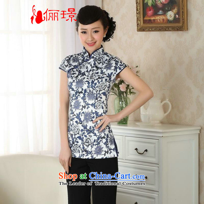 Ms. Li Jing Tong Women's clothes summer shirt collar porcelain Chinese Han-Tang dynasty improved women's short-sleeved燽lack on white orchid燲L RECOMMENDATIONS A0061 catty Paras. 125-130