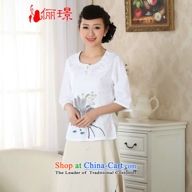 Ms. Li Jing Tong Women's clothes summer blouses cotton linen hand-painted Chinese Han-women improved national wind cuff�A0058��2XL( white recommendations 150 - 160131 catties)