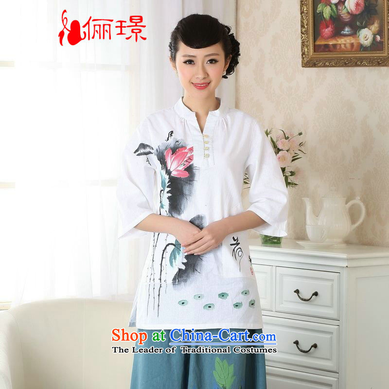 Ms. Li Jing Tong Women's clothes summer shirt collar cotton linen hand-painted Chinese Han-women in Tang Dynasty improved cuff?A0057??XL( white recommendations seriously) paras. 135-145