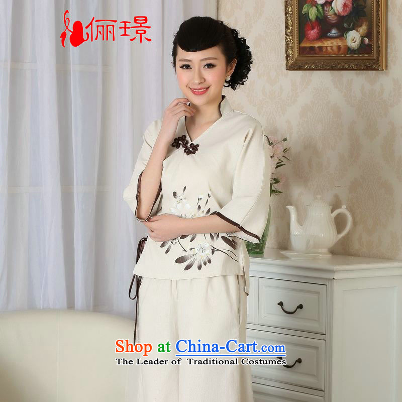158 Jing female Tang Women's clothes summer blouses Crescent for cotton linen hand-painted Chinese Han-women in Tang Dynasty improved cuff?A0054?beige?PUERTORRICANS recommendations 85-100 catties)