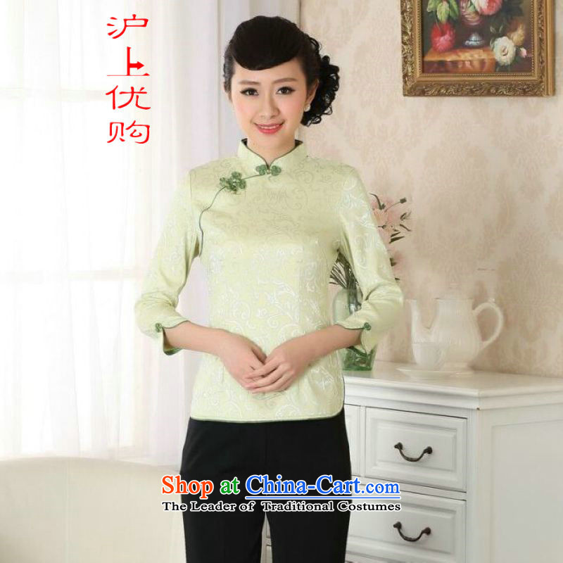 Shanghai, optimize ipo female Tang Women's clothes summer shirt collar of ethnic Chinese women's Han-improved A0051 -A GREEN燤