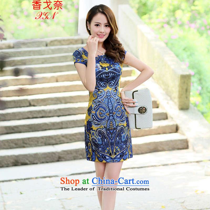 The Golan�2015 Hong female new ethnic Tang Dynasty Chinese embroidery on short-sleeved ink retro graphics thin cheongsam dress Sau San Yellow�M