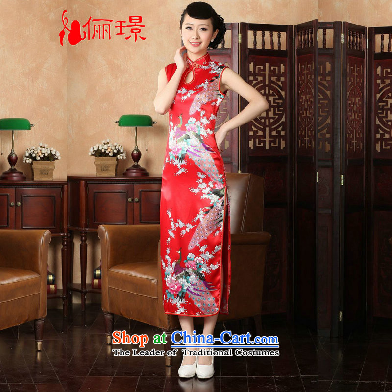 158 Jing qipao summer improved retro dresses collar silk cheongsam dress improved Chinese Peacock long KQ1001 J5116 2XL_ recommendations 120-130 catty red_