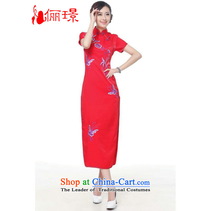 158 Jing qipao summer improved retro dresses silk embroidery on collar Chinese cheongsam dress long) Improved?0005 -C?L Recommendations, paras. 110115 catty red)