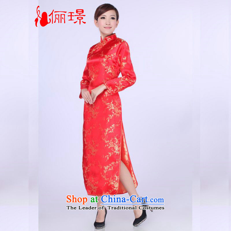 158 Jing qipao summer improved retro dresses collar silk Chinese qipao gown length of improved?0013??L (paras. 110-115 recommended the burden of red)