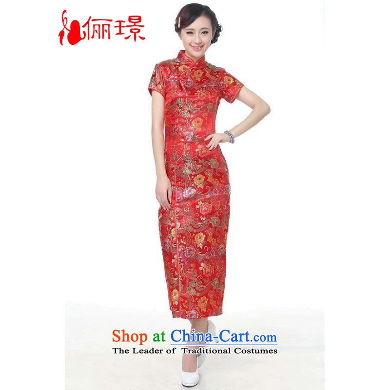 158 Jing qipao summer improved retro dresses collar hand-painted 10 detained long qipao Chinese cheongsam dress long_ Improved?SK002 C0001 couplet?L, paras. 110115 catty_ Recommendation