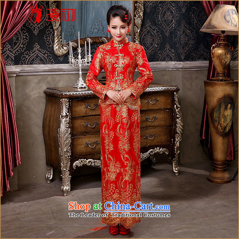 At the beginning of Castores Magi bride wedding dress 2015 Winter New Red bows service long-sleeved improvements marriage retro cheongsam dress red�XL