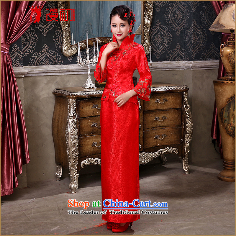 In the early 2015, marriages bows services improved long-sleeved red Chinese antique dresses etiquette will female RED燤