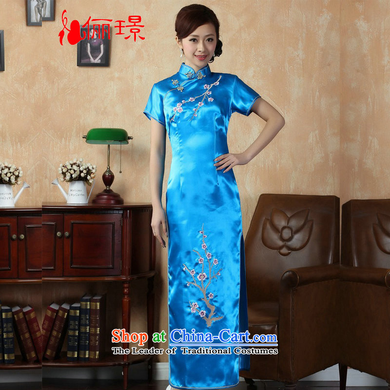 158 Jing qipao summer improved retro dresses damask collar is pressed to Chinese cheongsam dress embroidery improved long燲M1001 J3406�L_ blue recommendations 120-130 Wu Jin_