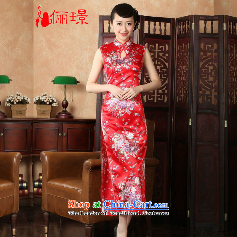 158 Jing qipao summer improved retro dresses collar hand-painted Chinese cheongsam dress long) Improved�YH1201 J5111�2XL( red recommendations 120-130 catties)