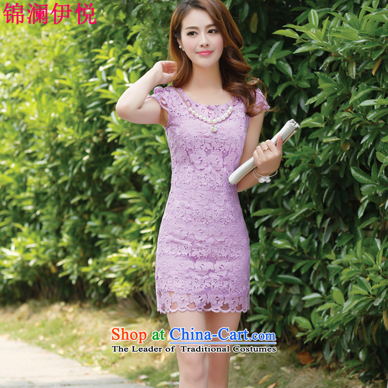 The world of Kam Yuet 2015 new female lace hook Flower Fairies temperament sweet princess wind Korean Sau San video coltish waist skirt wear skirts bridesmaid skirt dress purple M