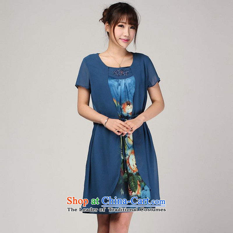 The 2014 summer of forest narcissus 618 special leave of two large relaxd really silk mother replacing dress S7-813 BLUE?XXL