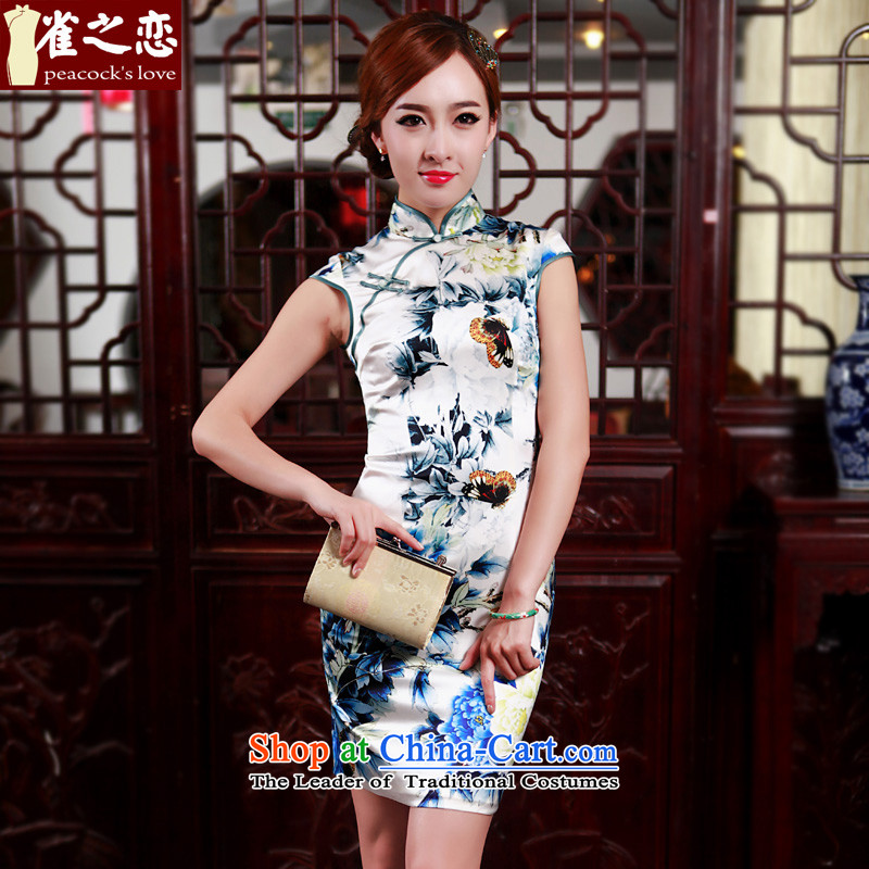 Love Poetry Of birds so聽spring 2015 new improved stylish heavyweight Silk Cheongsam daily Blue聽M
