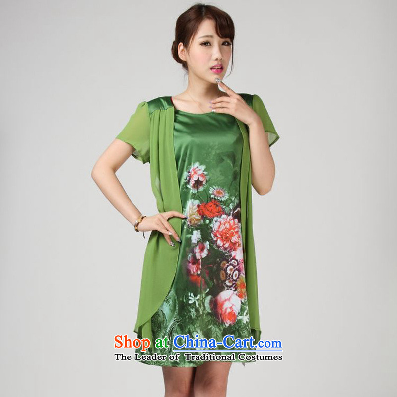 The 2014 summer of forest narcissus 618 offer large relaxd mother false two stamp Tang dynasty really silk dresses S7-851 GREEN聽XXL