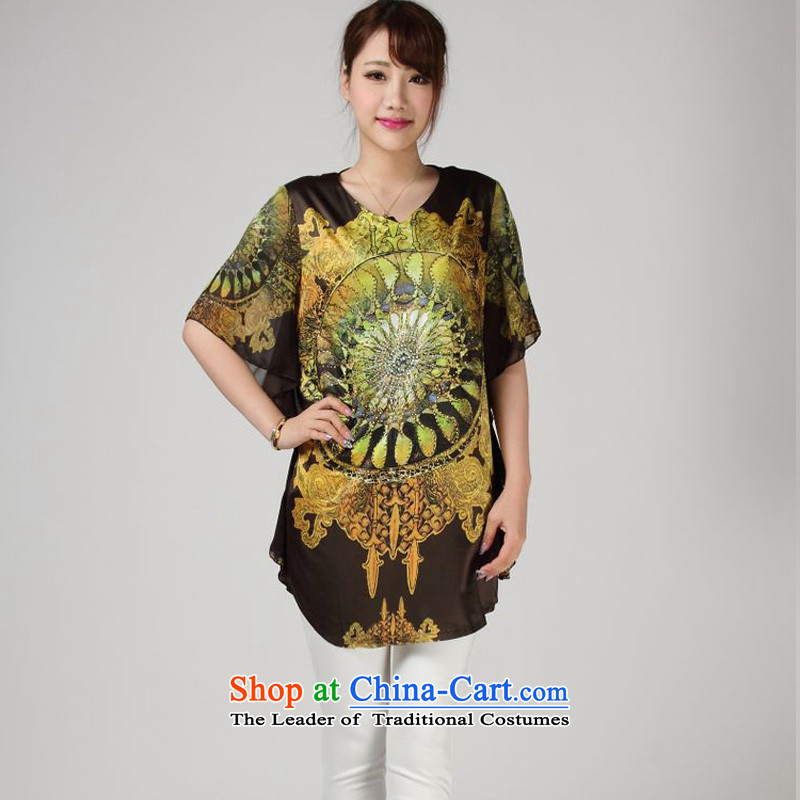 The 2014 summer of forest narcissus 618 Special silk sweater, stamp herbs extract Tang T-shirts S7-852 Army Green�XXL