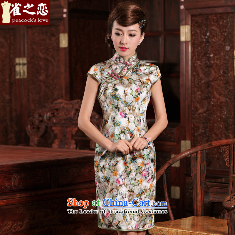 Love of birds in quick succession by dreams improvement kanematsu-style short of Silk Cheongsam QD471 figure?XXL