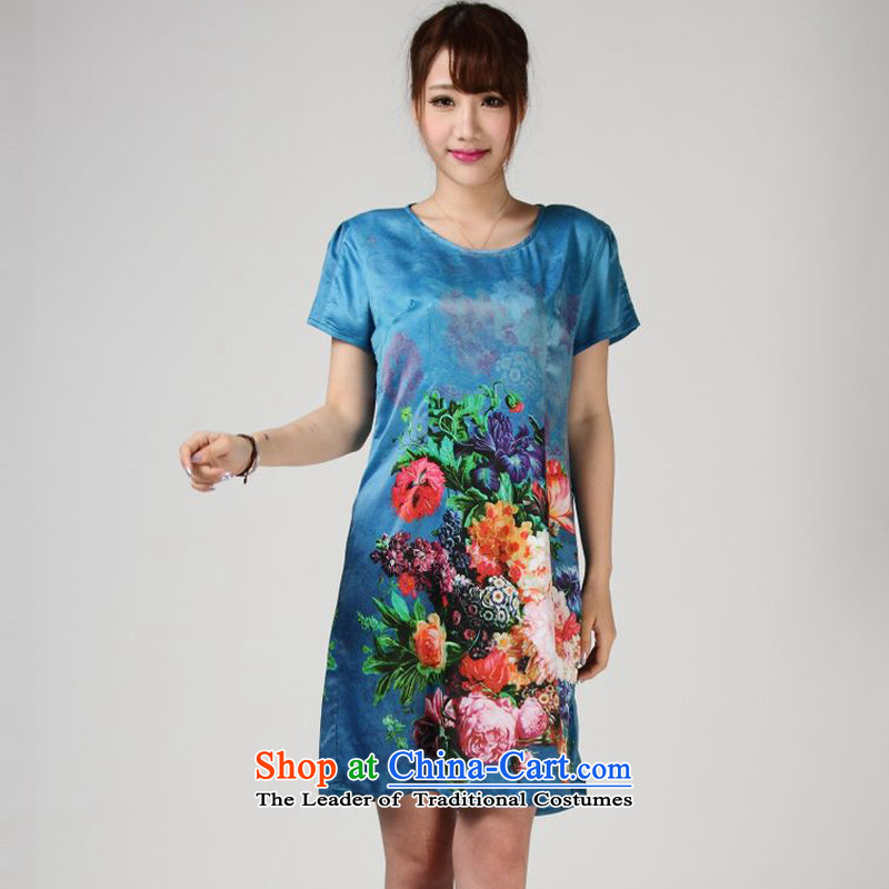 The 2014 summer of forest narcissus really Silk Dresses Tang Dynasty Stamp Pack large relaxd mother skirt S7-857 BLUE?L
