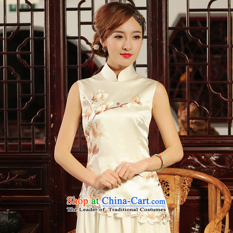 Love of birds figurines pretty shadow retro-heavyweight silk embroidery Chinese qipao Tang dynasty QD486 shirt m White燣