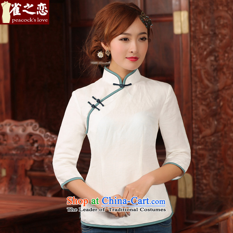 Love of birds wait written in?spring 2015 New Stylish retro 9 cuff cotton linen clothes QC492 qipao white?L