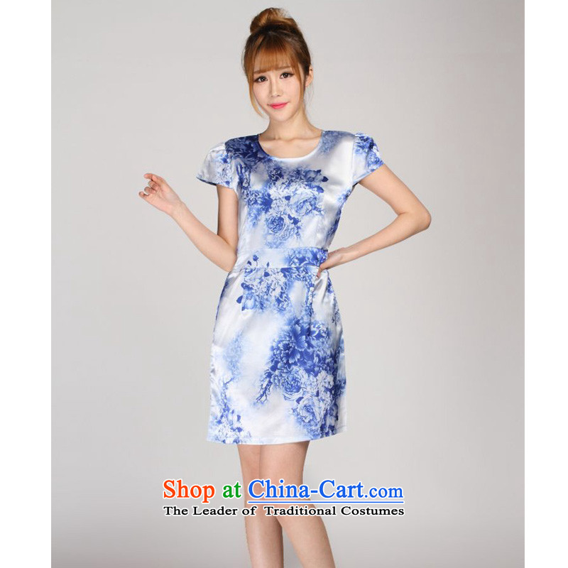 The 2014 summer forest narcissus new Porcelain china wind really silk stamp Tang dynasty dresses S7-865 porcelain燣