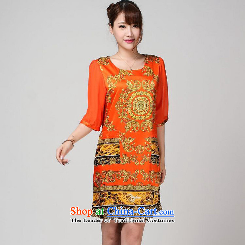 The 2014 summer forest narcissus new offer of the chiffon cuffs stamp really silk cheongsam dress S7-867 ORANGE燲XL