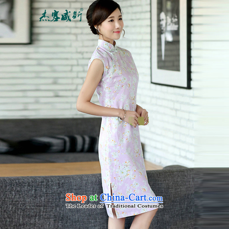 In the new kit of Chinese literature and fan summer improvements linen daily cotton linen dresses sleeveless cheongsam dress shrubby toner dresses?CQP869?sleeveless toner roses?XL
