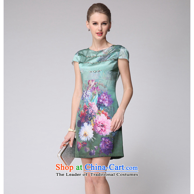 The 2014 summer forest narcissus new stamp Silk Cheongsam herbs extract short-sleeved round-neck collar dresses M7-6011 light green�XL