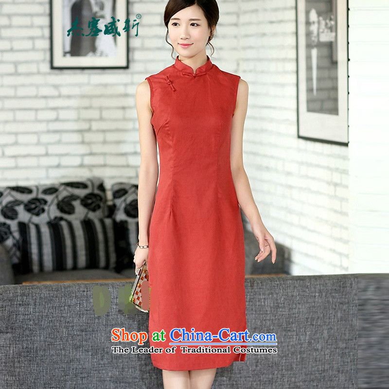 In the new kit for women improved retro arts_elegant OL linen sleeveless long cheongsam dress solid color cheongsam dress orange sleeveless?L