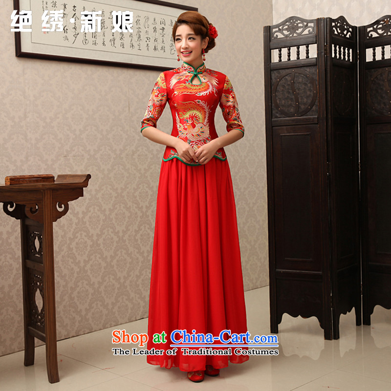 Embroidered dragon robe brides is red retro bridal dresses dresses improved marriage bows services custom install bride long-sleeved wedding?QP180 Red 7 Cuff?M?Suzhou Shipment