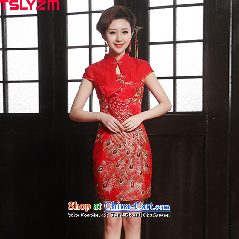 The new Chinese embroidery tslyzm2015 short of qipao bride wedding dress toasting champagne Sau San serving short-sleeved qipao Phoenix improved dresses red�XXL