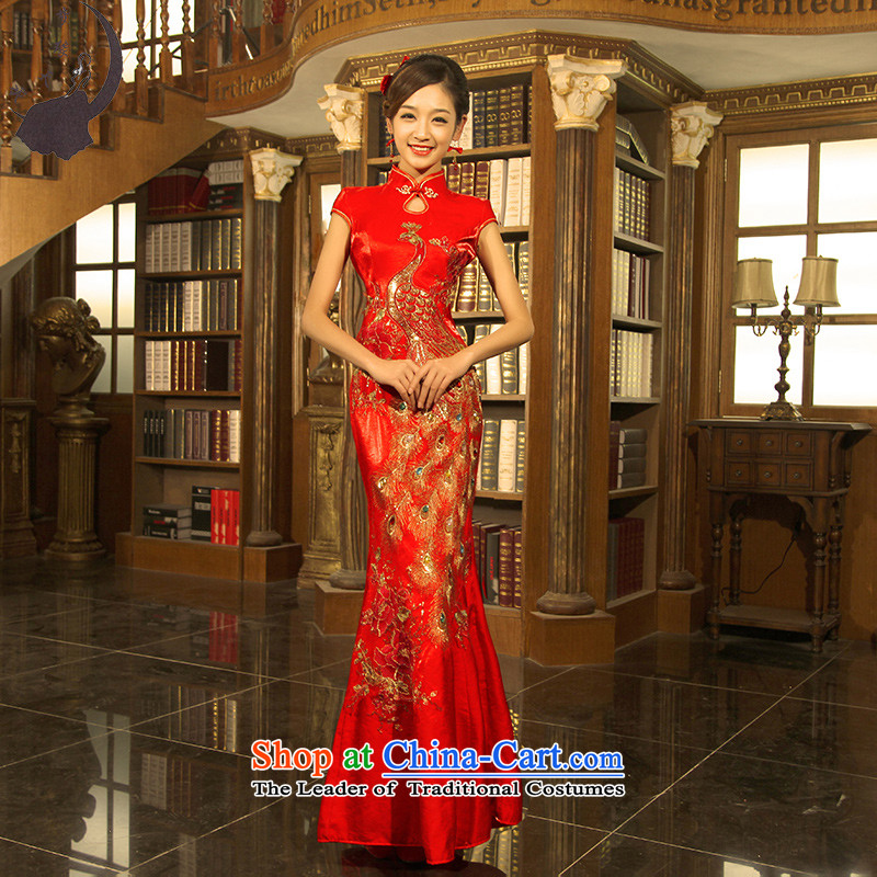 The girl brides red dress ceremonial wedding dresses 2015 new welcome drink service hotel dress crowsfoot long red燲XXL 2.4 feet posted 863.1waist