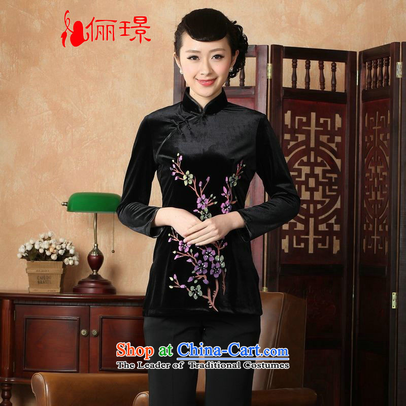 Ms. Li Jing Tong Women's clothes summer shirt collar is pressed to hand-painted silk Chinese Han-women in Tang Dynasty improved cuff?0065 -A black?L recommendations 115-120 catties_