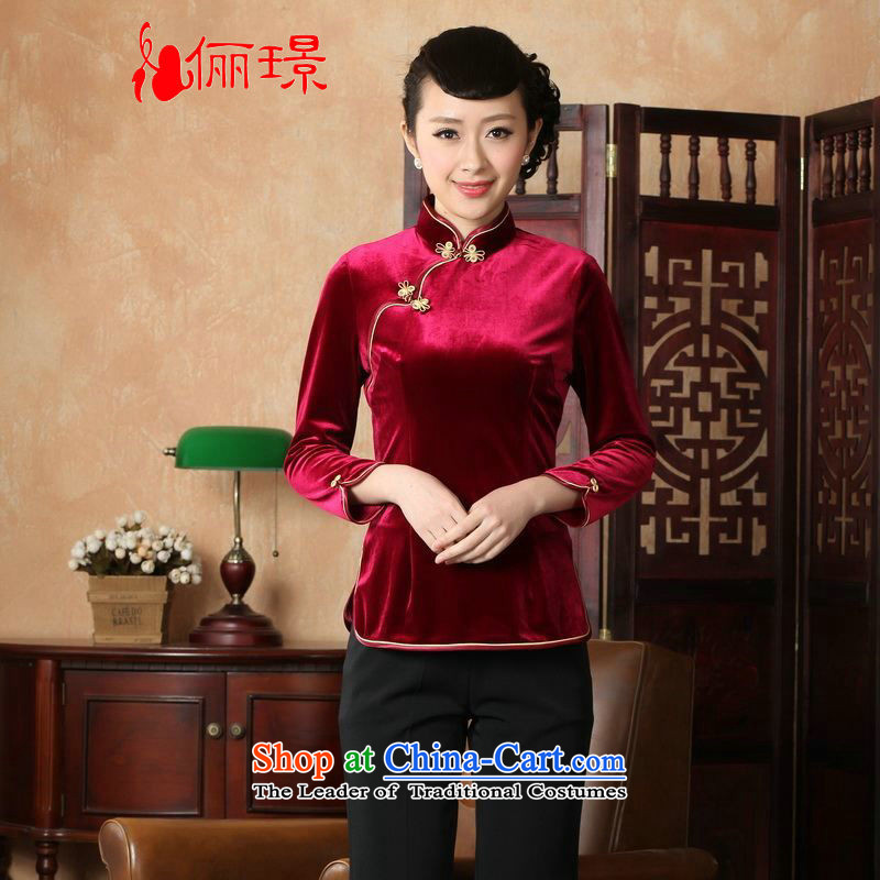Ms. Li Jing Tong Women's clothes summer shirt collar is pressed to Chinese Han-scouring pads women improved in?0064 Tang cuff?wine red?M 741 catties recommendations_