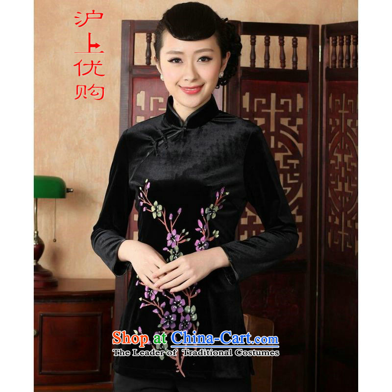 Shanghai, optimize ipo female Tang Women's clothes summer shirt collar is pressed to hand-painted silk Chinese Han-women improved�-A Black�XL