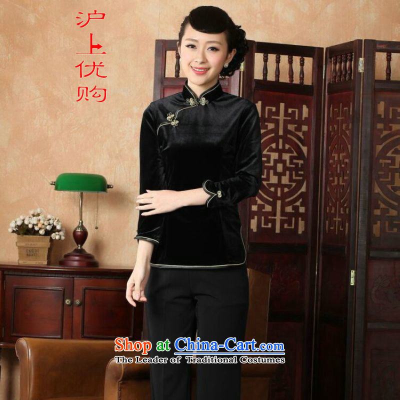 Shanghai, optimize ipo female Tang Women's clothes summer shirt collar is traversed by the plain velour Chinese Han-women improved A0064 -A black?M